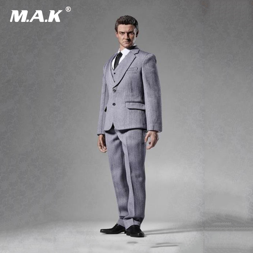 Black Grey Blue 1/6 Scale Mens Western Clothes Suit for 12 Inches Standard Narrow Shoulder Body Figures with Vest and Leather Sh 1 6 scale the game of death bruce lee head sculpt and kungfu clothes for 12 inches figures bodies