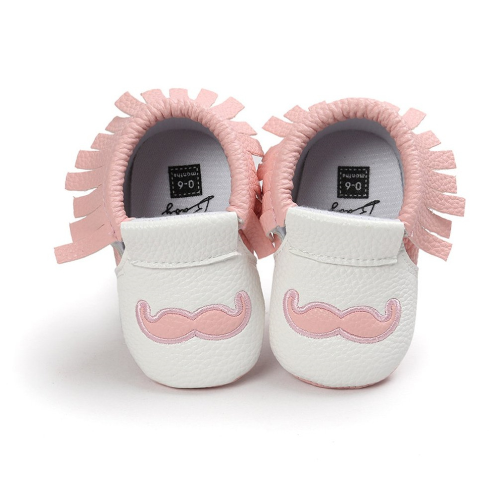 PU Tassels Newborn Baby Boy Girl Shoes Mustache Print Bebe Fringe Soft Sole Sandal Non-slip Footwear Crib Baby Casual Shoes