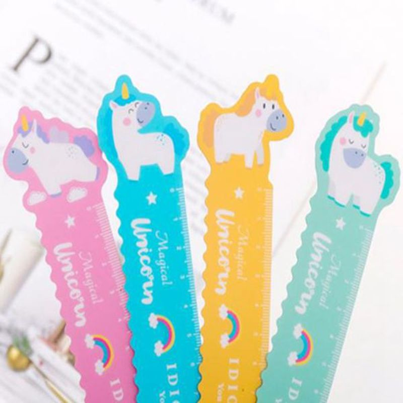 1Pcs Unicorn Magnetic Ruler Kawaii Stationery Novelty Cute Rulers Student Soft Design Ruler Set Of Drafting Rules SchoolSupplies