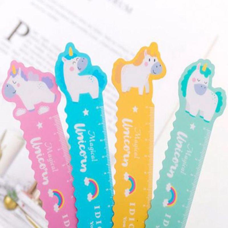 1Pcs Unicorn Magnetic Ruler Kawaii Stationery Novelty Cute Rulers Student Soft Design Ruler Set Of Drafting Rules SchoolSupplies