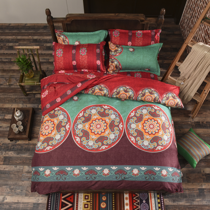 chinese style bedding set 3/4pcs Floral Printed bed linen duvet cover set pillowcases bedclothes home textile adult bed set