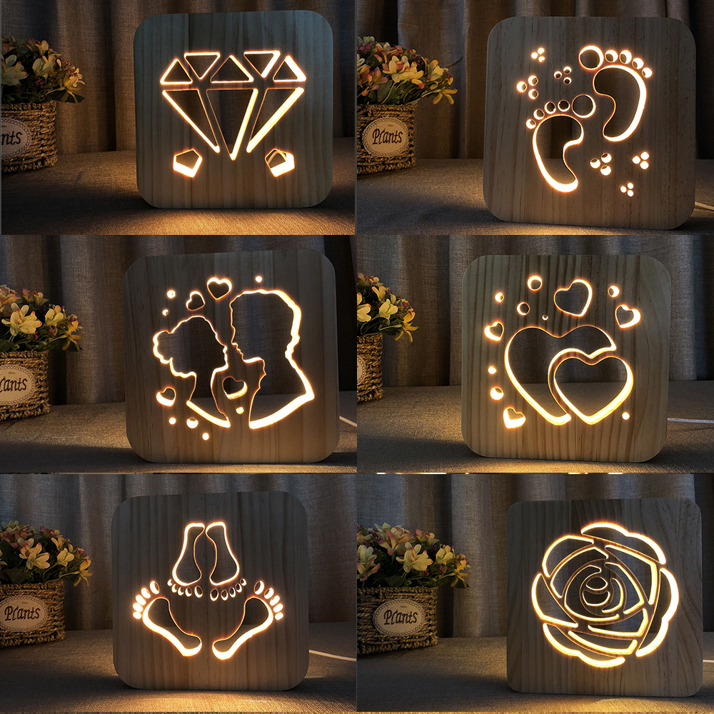 Wood LED Night Lighting 3D Visual Lamp Lover Heart Decor Nightlight I LOVE YOU USB Table Desk Lamp Bedroom LED Valentines Gift