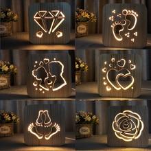 Деревянный светодиодный ночник 3D визуальная лампа любовник украшение в виде сердца ночник I LOVE YOU usb настольная лампа спальня светодиодный подарок на день Святого Валентина