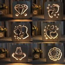 133efab13f4 Wood LED Night Lighting 3D Visual Lamp Lover Heart Decor Nightlight I LOVE  YOU USB Table Desk Lamp Bedroom LED Valentines Gift