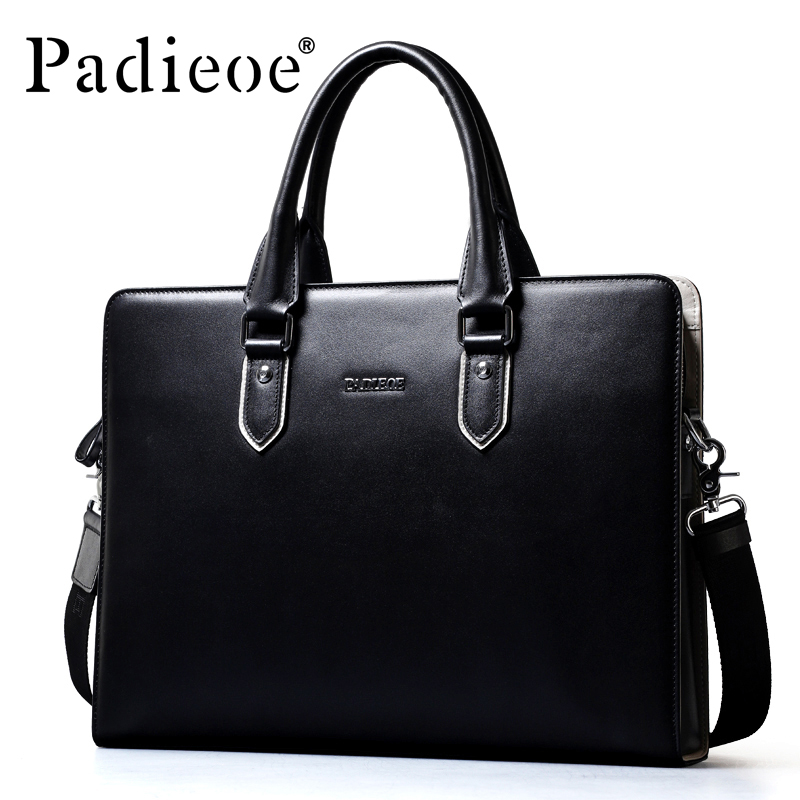Padieoe Luxury Genuine Leather Business Men Briefcase Durable Cowhide Leather Bag Fashion Casual Men Briefcase Casual Tote