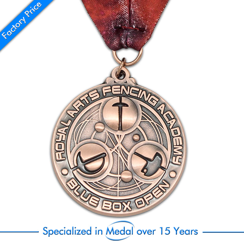 custom medals cheap metal antique red copper medals high quality oem 3D metal medals with ribbons in Non currency Coins from Home Garden