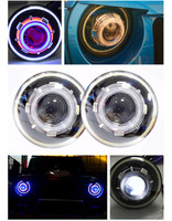 1 Pair 7 Round Star Projector Headlights With Fully Demon Eye Halo White DRL For Jeeep