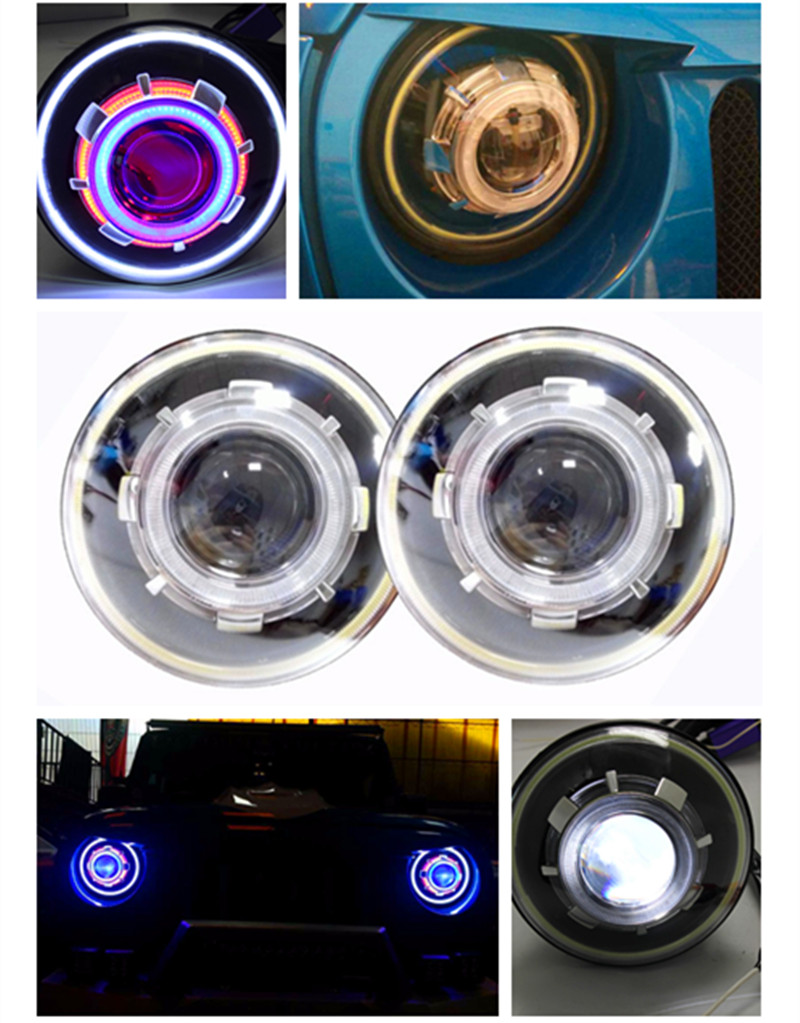 1 Pair 7 Round star Projector Headlights with Fully Demon Eye Halo White DRL for Jeeep Wrangler TJ KJ demon eyes 12v 35w 7 inch cob halo hid xenon led headlight headlamp with demon eyes drl canbus ballast for jeeep wrangler 07 15