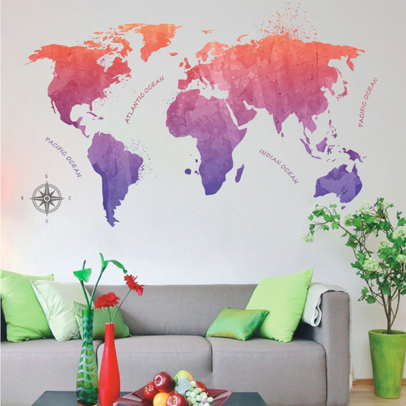 Creative Large World Map Wall Stickers Original Creative Letters Map Wall Art Bedroom Home Decorations Wall Decals