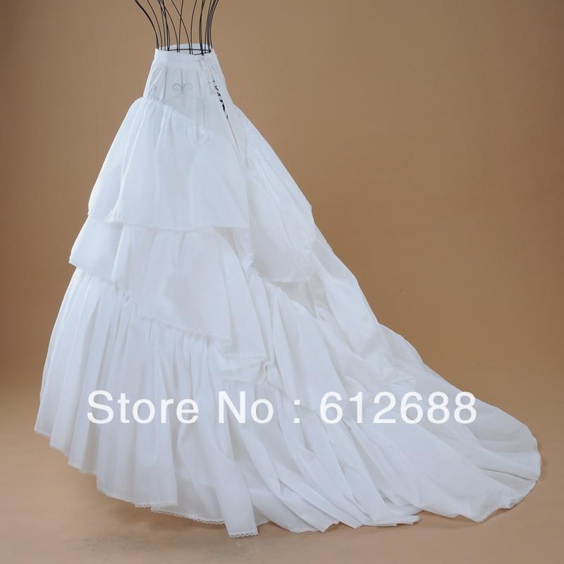 3 layers sweep train white gauze bridal petticoat