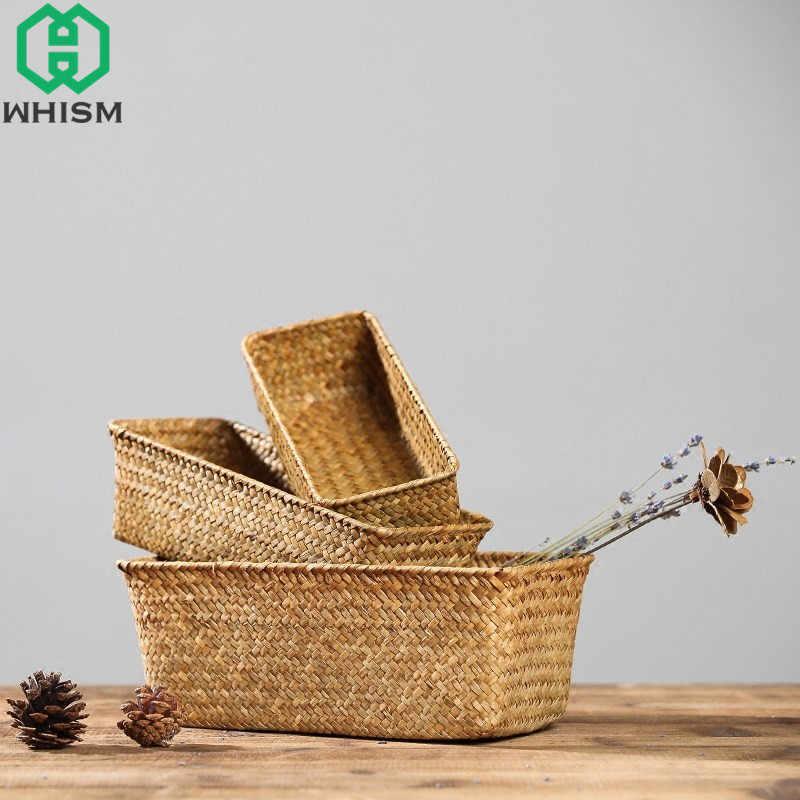 WHISM Artesanal de Palha Caixa de Armazenamento Recipiente Organizador de Maquiagem De Armazenamento De Tecido Rattan cesta de Frutas Cesta Seagrass Cestas Cestas De Vime