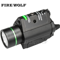 FIRE WOLF Hunting Tactical Combo Metal Green Dot Laser Sight Led Flashlight 200lm 3w With 20mm Rail Weaver Picatinny For Glock