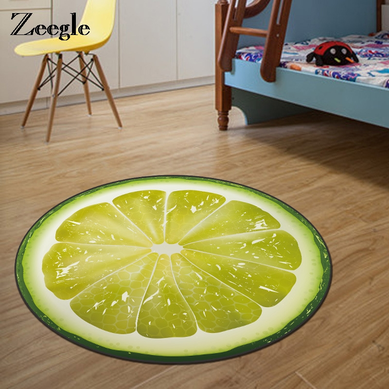 Zeegle 3D Fruit Printed Round Carpet For Living Room Kids Bedroom Rug Welcome Floor Anti-Slip Mats Computer Chair Area Rug