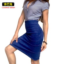 Coated rabbit Women Suede Pencil Skirt Autumn Winter High Waist Elasticity Solid Color Bodycon Vintage Split Thick Skirts Female