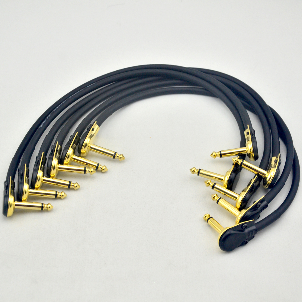 New 6pcs 30cm guitar effects pedal Patch Cable with 6.35mm Gold connector free shipping