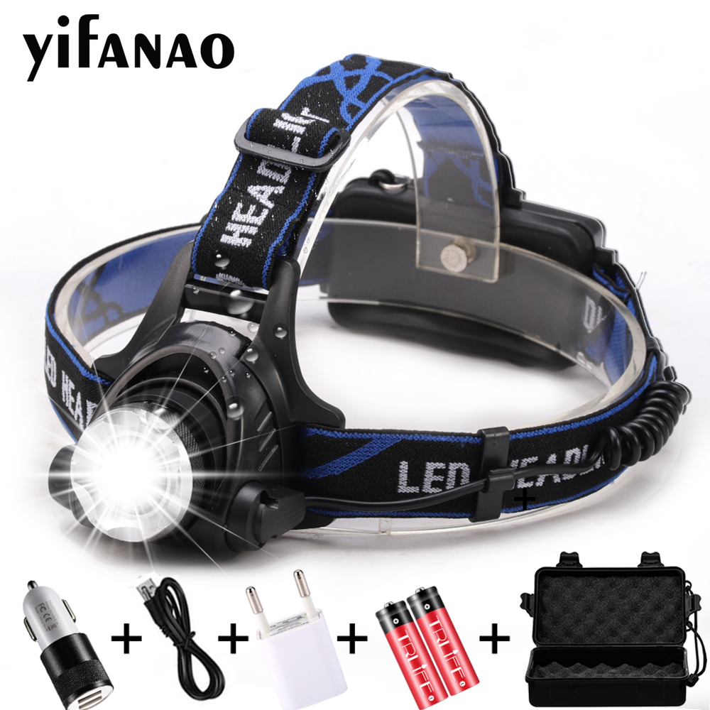 LED Headlamp USB Charging LED Headlight V6/L2/T6 Zoomable Lamp Waterproof Head Torch Flashlight Torch 3 Modes Use 18650