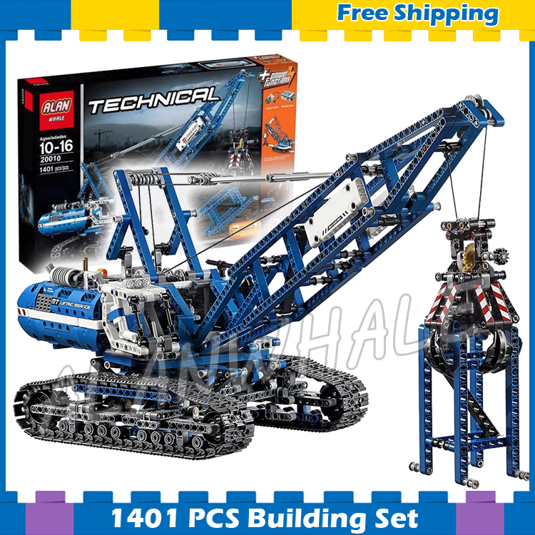 1401pcs 2in1 Techinic Motorized Crawler Mobile Tower Crane 20010 Model Building Blocks Assemble Gifts sets Compatible With lego 1401pcs 2in1 techinic motorized crawler