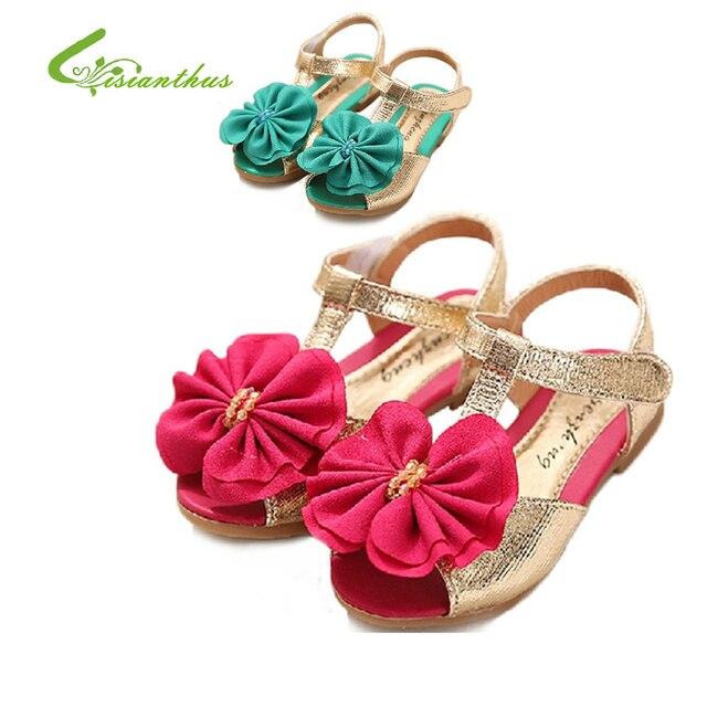 Девушки принцесса босоножки туфли дети шифон цветы тонкие обувь детская девушка искусственная кожа обувь бесплатная прямая поставка новинка