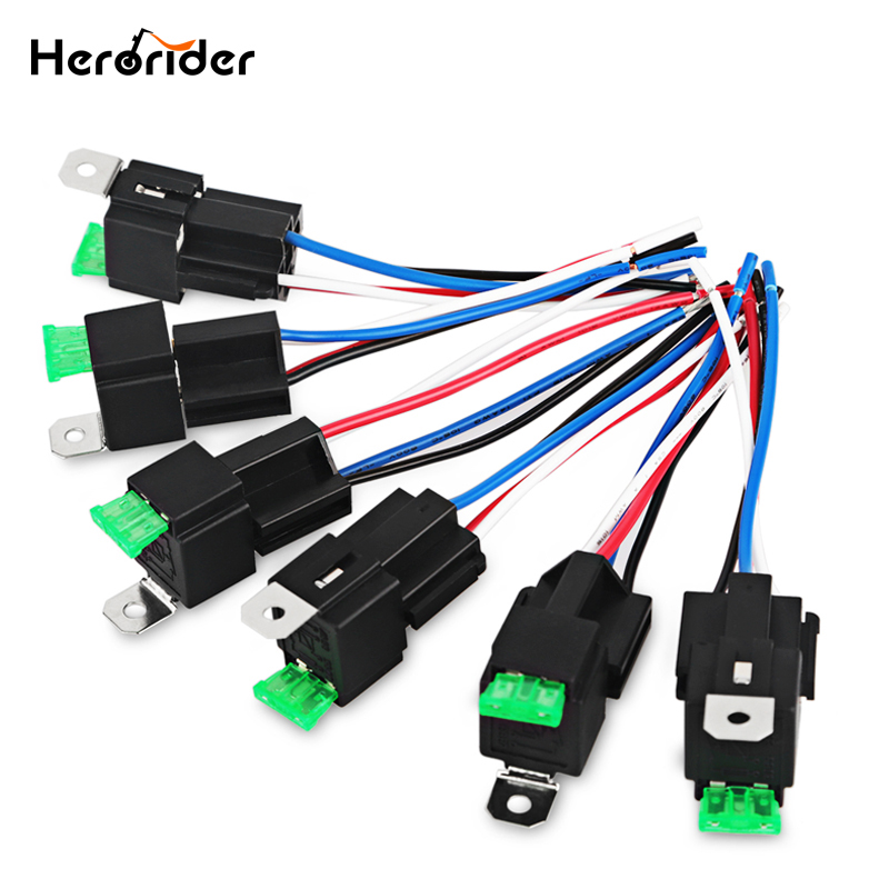 Herorider 6pcs 30a Fuse Relay Switch Harness Set 12v Dc