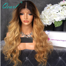 купить Qearl 180% Lace Front Human Hair Wig Pre Plucked Hairline Remy Hair Wig Ombre 1b/27 TWO Tone Blonde Glueless Lace Front Wig по цене 5807.83 рублей