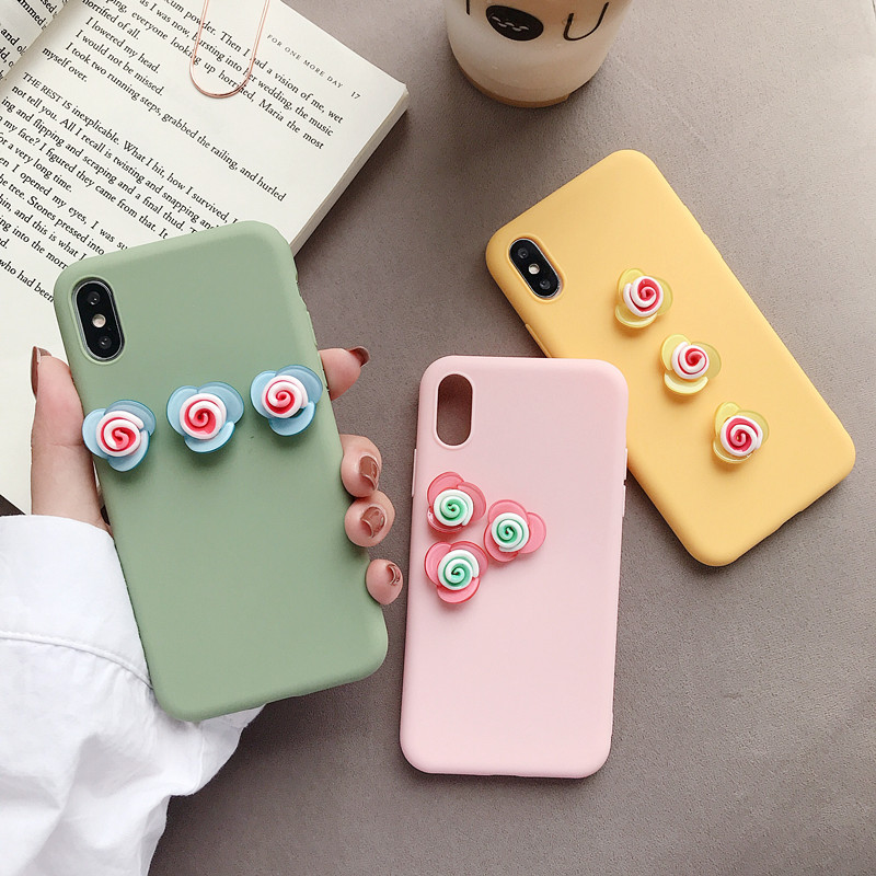 Cute 3D Rose Flower Phone Case For iPhone 8 7 6 6s Plus Cover For iPhone X XS Max XR Fashion Floral Pattern Soft Back Cases Capa-in Fitted Cases from Cellphones & Telecommunications