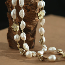 Natural special-shaped pearl two-sided glossy Camellia Fashion Export New Baroque Necklace sweater chain Pearl large