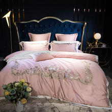 Luxury Embroidery 100% Egyptian Cotton Duvet cover Bed Sheets,Silky Softest 4/7-Pcs King Queen Pink Long-Staple Bedding sets