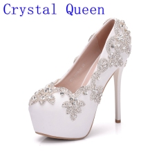 Crystal Queen White Crystal Women High Heels Shoes Rhinestones Diamond Bling Wedding Shoes Bridal Party Dress Shoes Woman Pumps(China)
