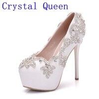 Rainha de cristal Branco Mulheres de Salto Alto Sapatos de Cristal Strass Bling Do Diamante Vestido de Festa de Casamento Sapatos de Noiva Sapatos de Mulher Bombas