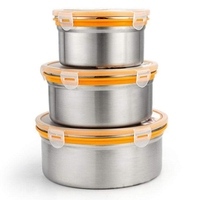 3 Pieces Of Food Grade Stainless Steel Food Container With Sealed Lid For School Office Snack Picnic