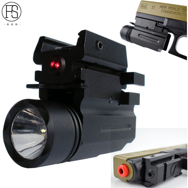Tactical Sight Hunting Combo Red Laser Light LED CREE Flashlight for Pistol Glock 17 19 20 21 22 23 30 31