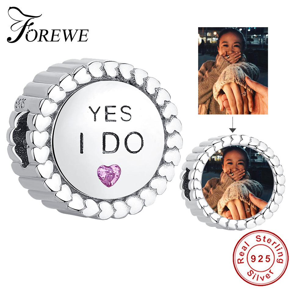 Forewe Custom Photo 925 Sterling Silver Propose Marriage Round Crystal Beads Fit Original Charms Bracelet Personalized Jewelry