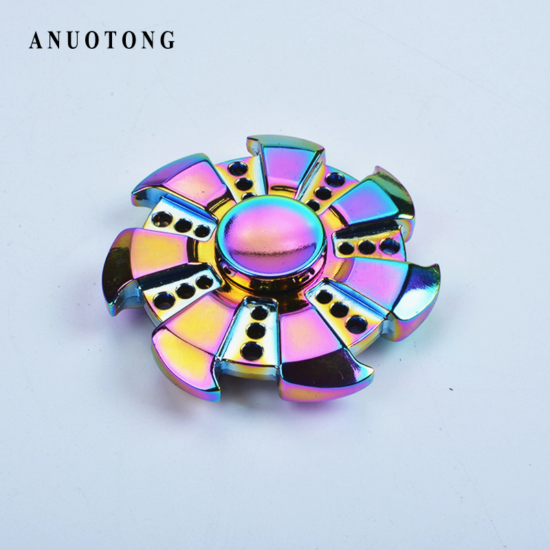 Pattern Colorful  Hand Tri-Spinner Fidgets Toys  Alloy EDC Sensory Fidget Spinners For Autism And Kids/Adult toy Free shipping  50pcsnew pattern colorful hand tri spinner fidgets toy torqbar alloy edc sensory fidget spinners for autism and kids adult funny