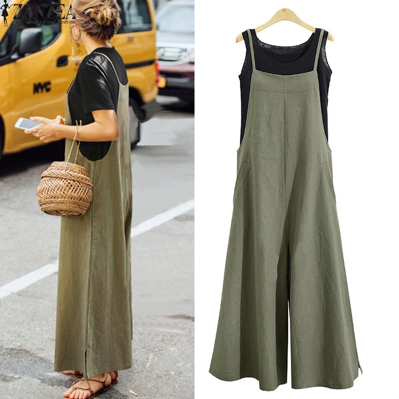 Women Solid Brief Cotton Dungaree Overalls Casual Loose Vintage Bib Romper Suspender Wide Leg Long Pants Pockets Jumpsuit