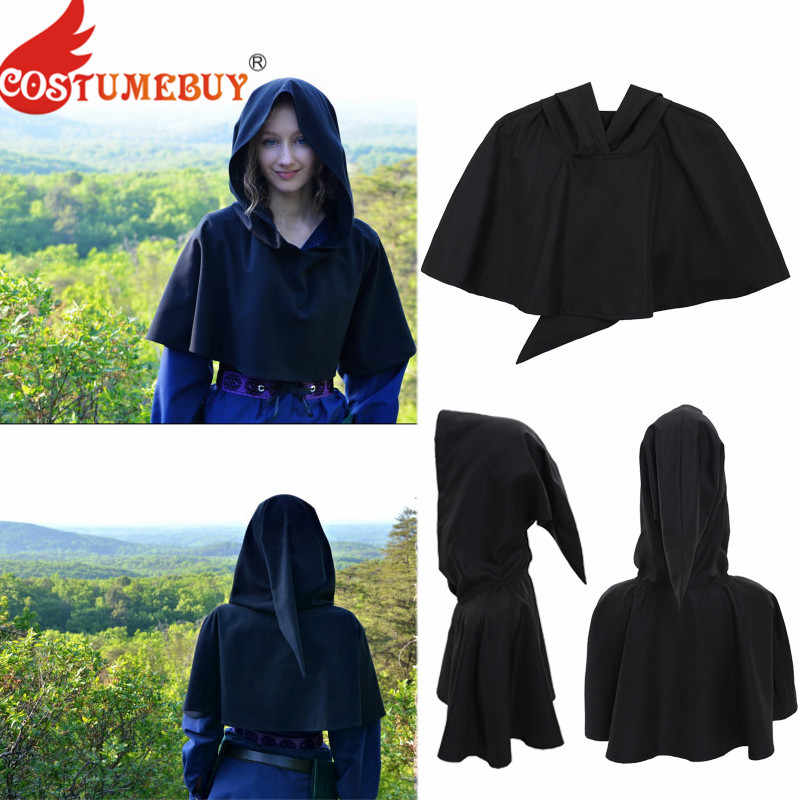 CostumeBuy สีดำ Hooded Cape Cloak Mantle Coat Wicca Pagan Robe Medieval Unisex Vintage Shawl ฮาโลวีนคอสเพลย์ LARP ชุด