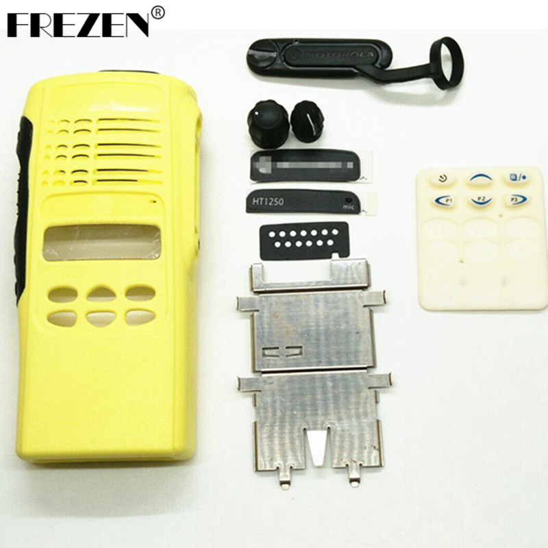 Yellow Complete Radio Service Parts Front Case Housing Cover Refurb Kit for Motorola HT1250 two way radio / Walkie <font><b>Talkie</b></font>