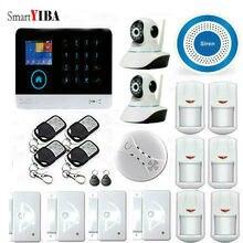 SmartYIBA APP Control WIFI Surveillance Camera Home Auto Security Alarm Systems With Blue Siren Smoke Sensor Moton Alarm