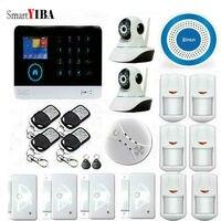 SmartYIBA APP Kontrol WIFI Gözetim Kamera Ev Oto Güvenlik Alarm Sistemleri Ile Mavi Siren Duman Sensörü Moton Alarm