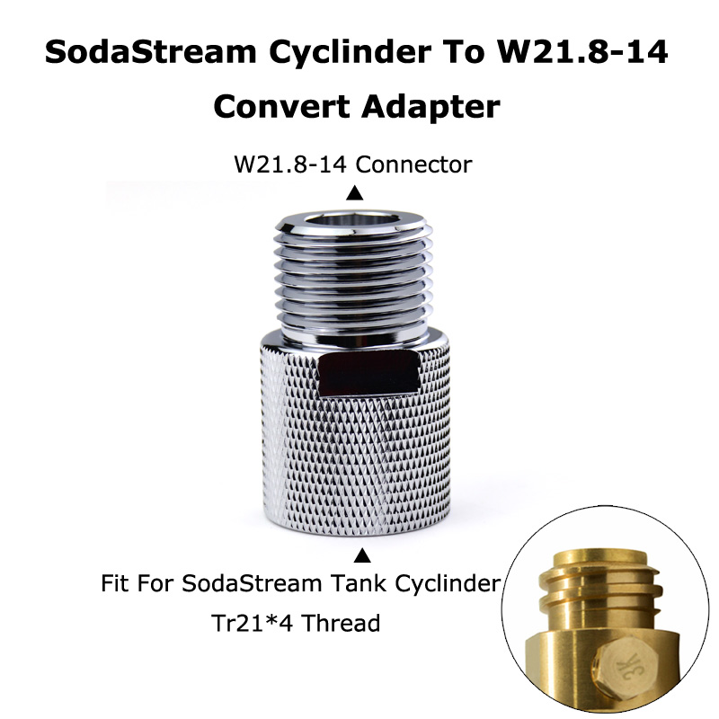 New SodaStream Cylinder To W21.8 14 Convert Adapter For Aquarists Aquarium Fish or Homebrew Beer Keg Co2 Tank Regulators-in Paintball Accessories from Sports & Entertainment
