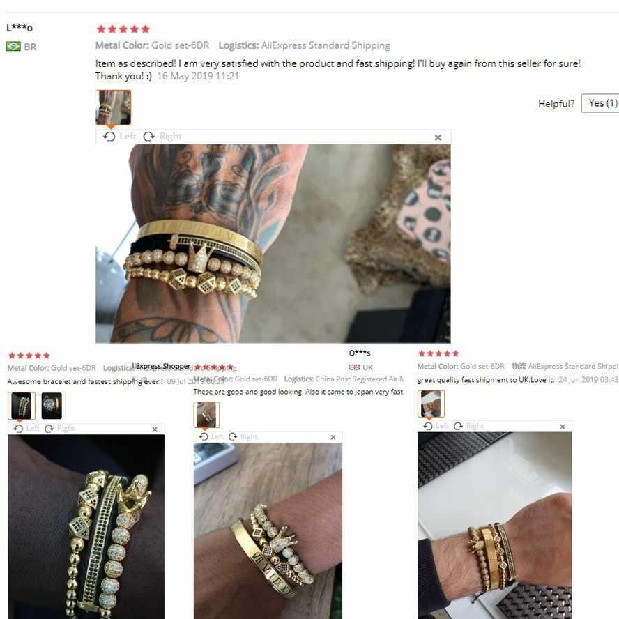 Hot Sale Klasik Buatan Tangan Mengepang Gelang Emas Hip Hop Pria Paving Stone CZ Zircon Mahkota Angka Romawi Gelang Perhiasan Mewah