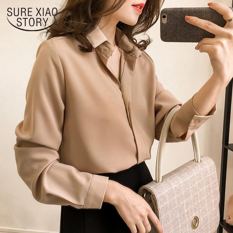 2019 New Women Spring Shirt Long Sleeve Chiffon Blouse Simple Female Pure Korean Women Clothing Plus Size Fashion Shirts D553 30