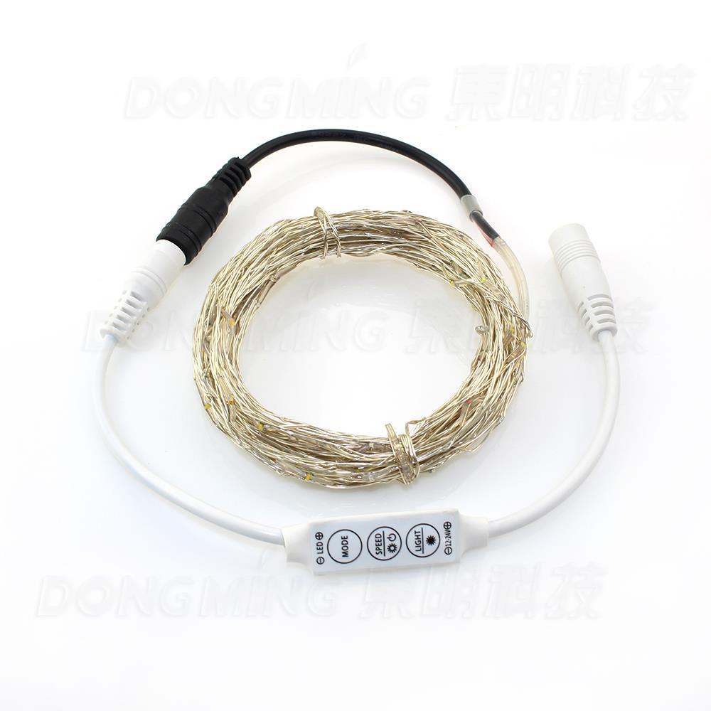 50 Led/5m 12V RGB Led String Light Christmas Tree Home Copper Wire Fairy Light Decoration Warm White DC Connector + Controller