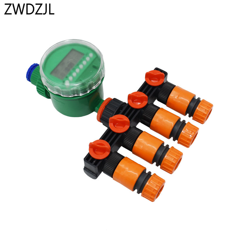 Automatic Irrigation controller 4 Way Tap 1/2 3/4 hose water splitter Garden tap 16mm 20mm hose Splitters Battery valve 1set