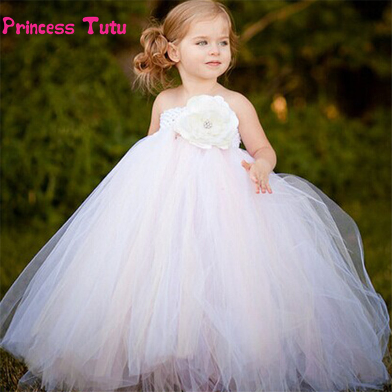 купить Beige White Flower Girl Tutu Dress Wedding Gowns Kids Birthday Party Pageant Tulle Dresses Children Princess Flower Girl Dresses дешево