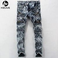 HZIJUE High Quality Men S Vintage Bleach Wash Snowflake Stretch Skinny Jeans Hip Hop Torn Holes