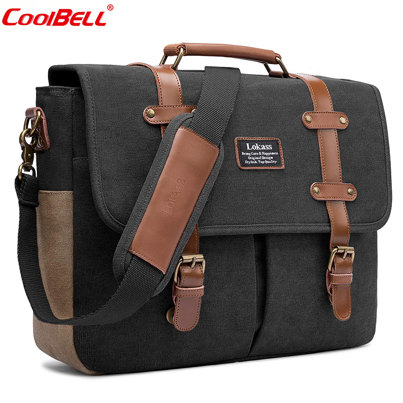 CoolBELL Men Laptop Messenger Bag Vintage Genuine Leather Canvas Handbag 15.6 Inch Laptop Bag Shoulder Bag Briefcase For Travel roberto cavalli пальто