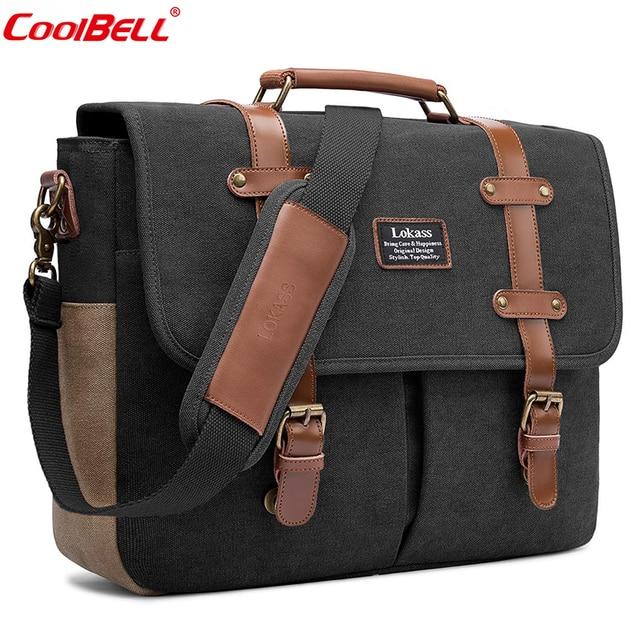 CoolBELL Men Laptop Messenger Bag Vintage Genuine Leather Canvas Handbag 15.6 Inch Laptop Bag Shoulder Bag Briefcase For Travel