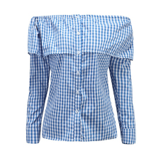 Autumn NEW Women Ladies Long Sleeve fashion Shirt Loose Casual Blouse Tops off shoulder bitton solid plaid sexy blouse top