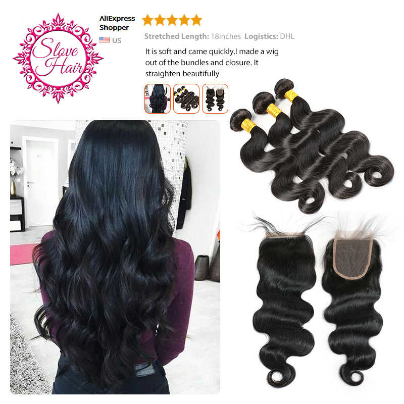 Brazilian Body Wave Bundles Remy Human Hair Weave Weft Extension Buy 3 / 4 Bundles Can Match With Lace Or Frontal Closure Slove