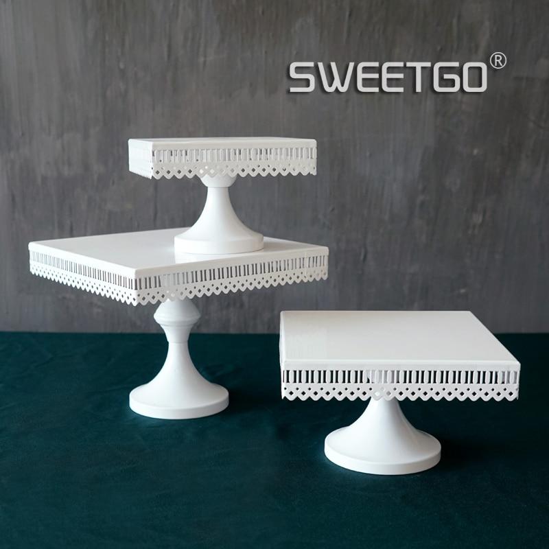 SWEETGO 스퀘어 케이크 스탠드 화이트 철 금속 케이크 도구 고품질 웨딩 테이블 decoator 홈 장식 bakeware 캔디 바